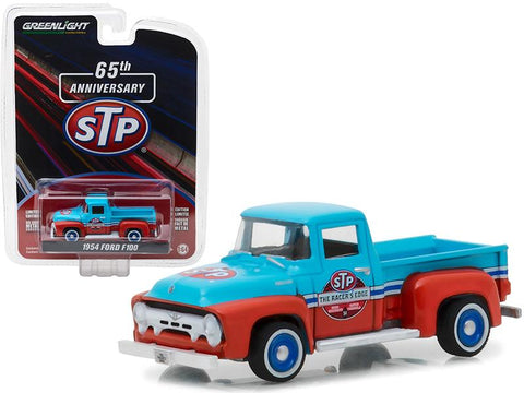 "1954 Ford F-100 Truck Blue and Orange \STP 65th Anniversary"" Anniversary Collection Series 6 1/64 Diecast Model Car by Greenlight"""