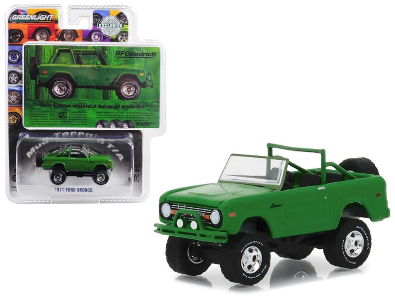 "1971 Ford Bronco \Take Control"" Green BFGoodrich Vintage Ad Cars Hobby Exclusive 1/64 Diecast Model Car by Greenlight"""