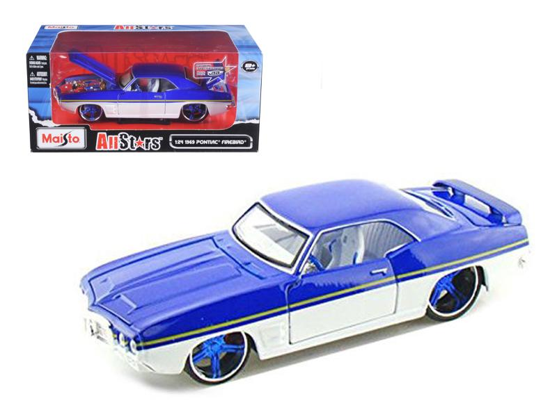 "1969 Pontiac Firebird Blue / White \All Stars"" 1/24 Diecast Model Car by Maisto"""