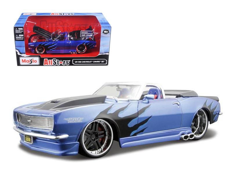 "1968 Chevrolet Camaro SS Convertible Blue \Pro Rodz"" 1/24 Diecast Model Car by Maisto"""