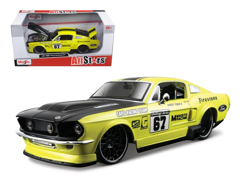 1967 Ford Mustang GT Yellow #67 1/24 Diecast Model Car by Maisto