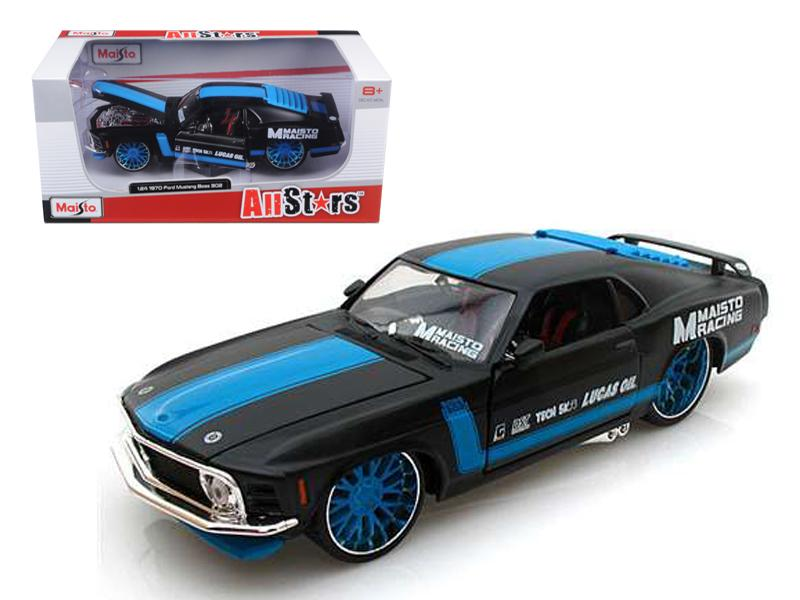 "1970 Ford Mustang Boss 302 \All Stars"" Black 1/24 Diecast Model Car by Maisto"""