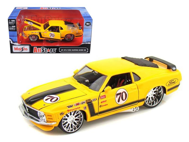 "1970 Ford Mustang Boss 302 #70 Yellow \Pro Rodz"" 1/24 Diecast Model Car by Maisto"""
