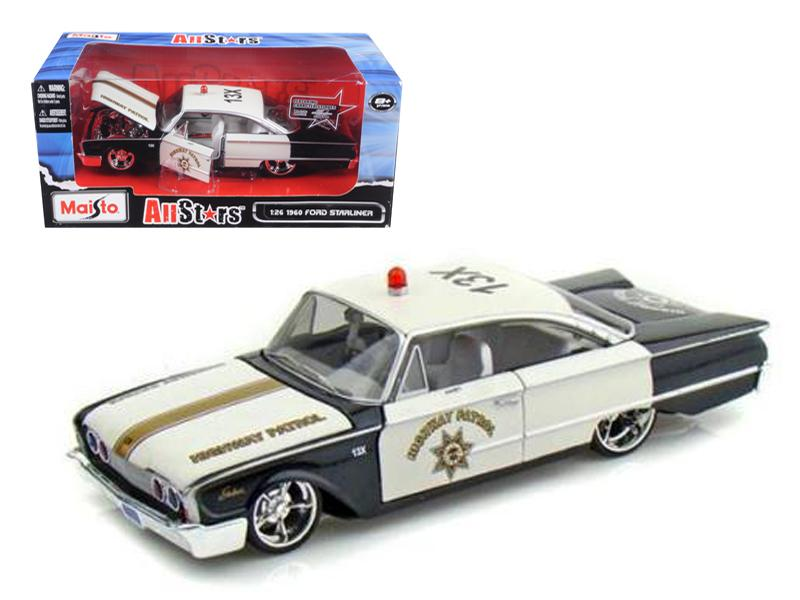 "1960 Ford Starliner Highway Patrol \All Stars"" 1/26 Diecast Model Car by Maisto"""