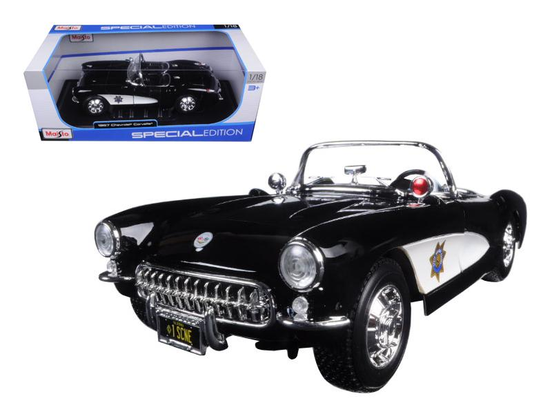 1957 Chevrolet Corvette Highway Patrol 1/18 Diecast Model Car by Maisto