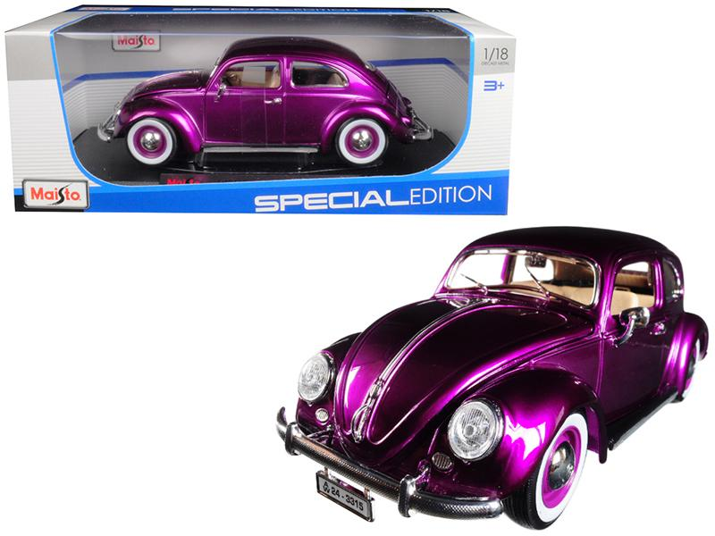 1955 Volkswagen Kafer Beetle Purple 1/18 Diecast Model Car by Maisto