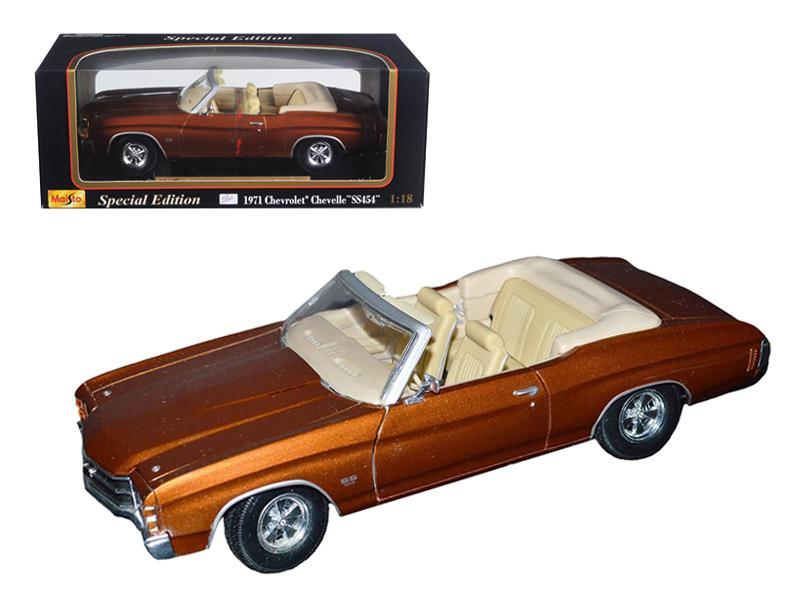 1971 Chevrolet Chevelle SS 454 Convertible Brown 1/18 Diecast by Maisto