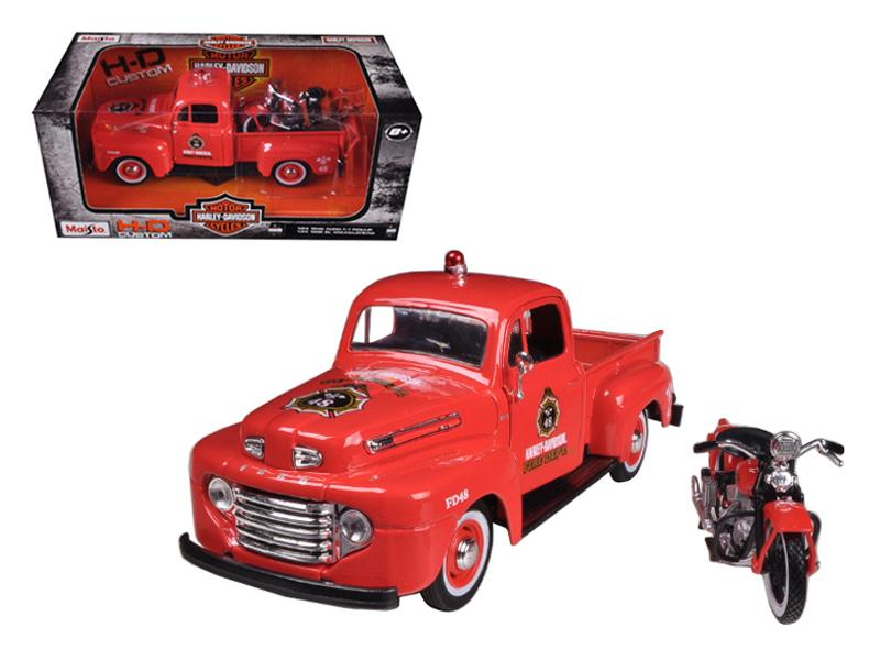1948 Ford F-1 Pickup Truck Harley Davidson Fire With 1936 El Knucklehead Harley Davidson Motorcycle 1/24 Diecast Model by Maisto