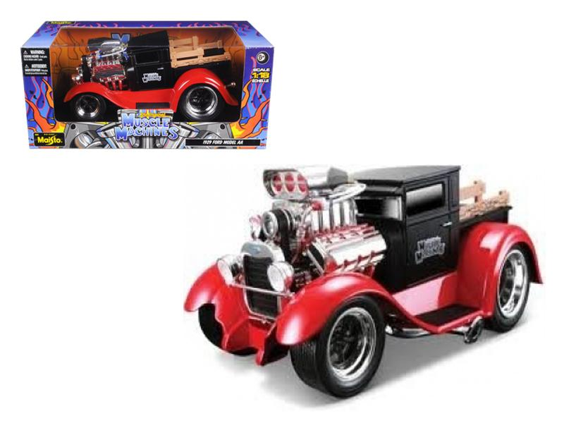"1929 Ford Model AA Matt Black/Red \Muscle Machines"" 1/18 Diecast Model Car by Maisto"""
