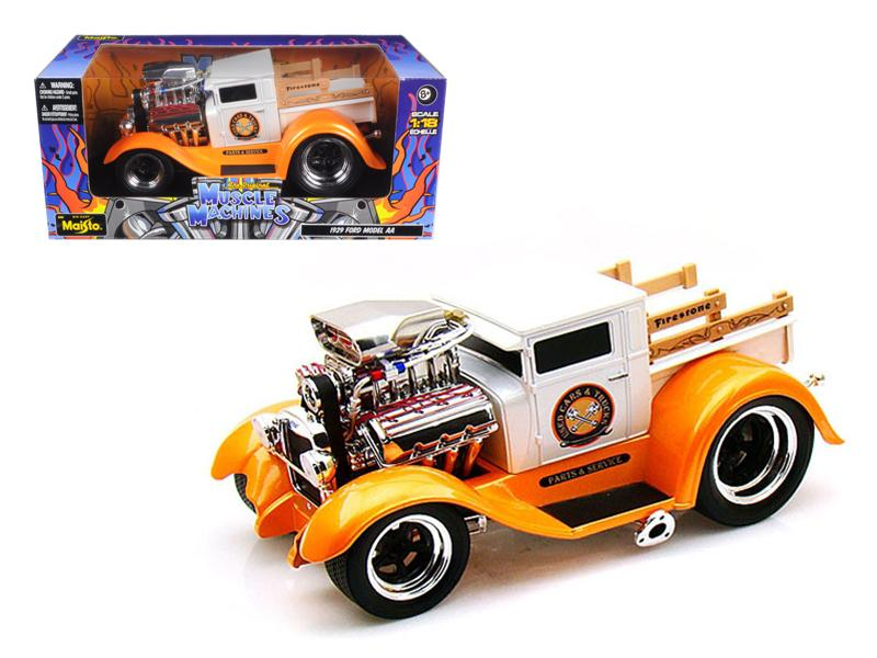 "1929 Ford Model AA Orange/White \Muscle Machines"" 1/18 Diecast Model Car by Maisto"""