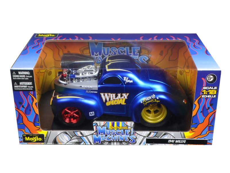 "1941 Willys Coupe Blue \Muscle Machines"" 1/18 Diecast Model Car by Maisto"""