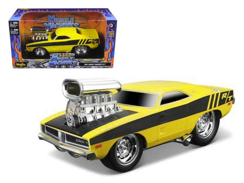 "1969 Dodge Charger R/T Hemi Yellow Gasser \Muscle Machines"" 1/24 Diecast Model Car by Maisto"""