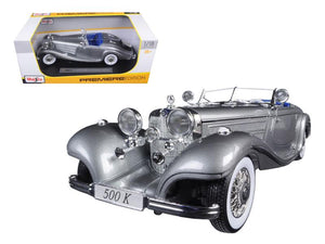 1936 Mercedes 500K Special Roadster Grey 1/18 Diecast Model Car by Maisto