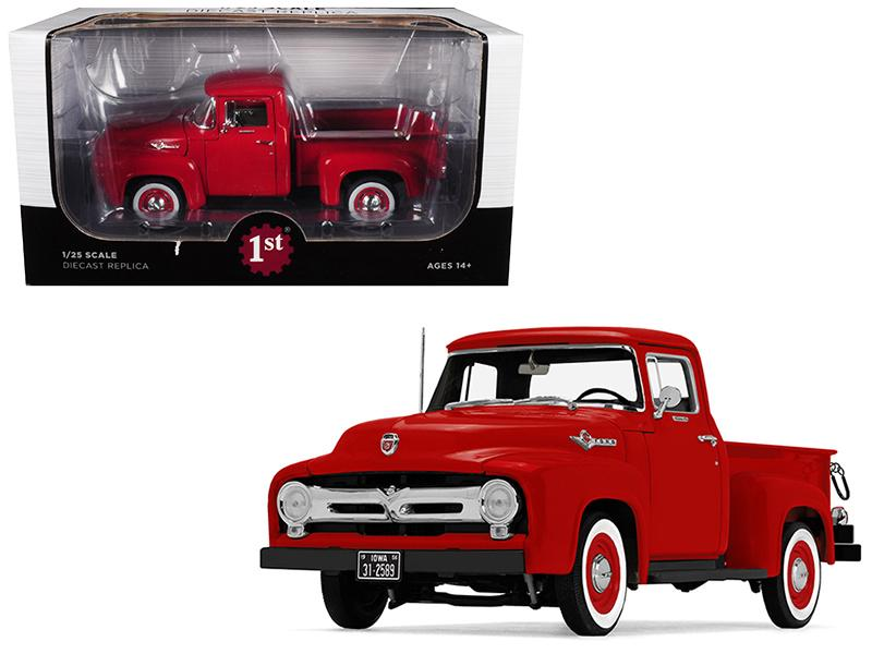 1956 Ford F-100 Pickup Truck High Feature Vermillion Red 1/25 Diecast Model Car by First Gear