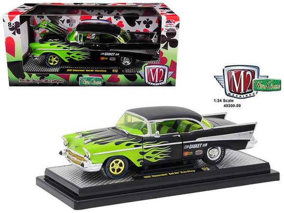 1957 Chevrolet Bel Air Hard Top Black with Flames 1/24 Diecast Model Car by M2 Machines
