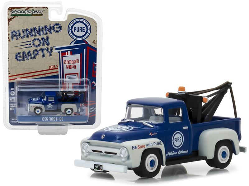 "1956 Ford F-100 Tow Truck Blue with Drop-in Tow Hook \Pure Oil"" Running on Empty Series 5 1/64 Diecast Model Car by Greenlight"""