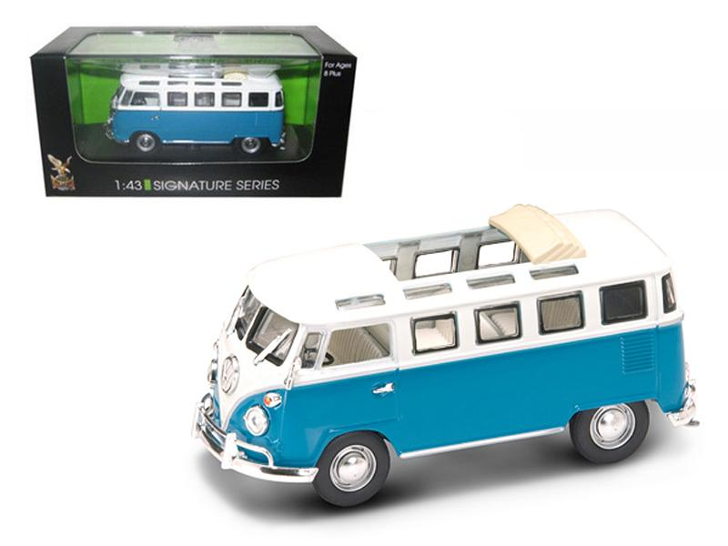 1962 Volkswagen Microbus Van Bus Blue With Open Roof 1/43 Diecast Car by Road Signature
