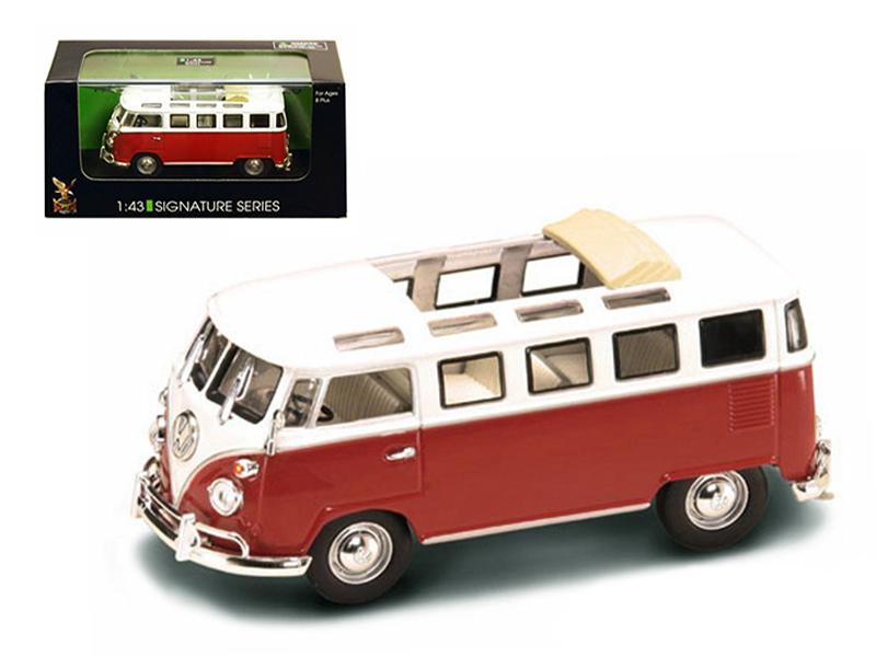 1962 Volkswagen Microbus Van Bus Red With Open Roof 1/43 Diecast Car by Road Signature