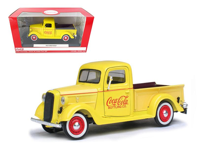 1937 Ford Pickup Truck Coca Cola Yellow 1/24 Diecast Model Truck by Motorcity Classics