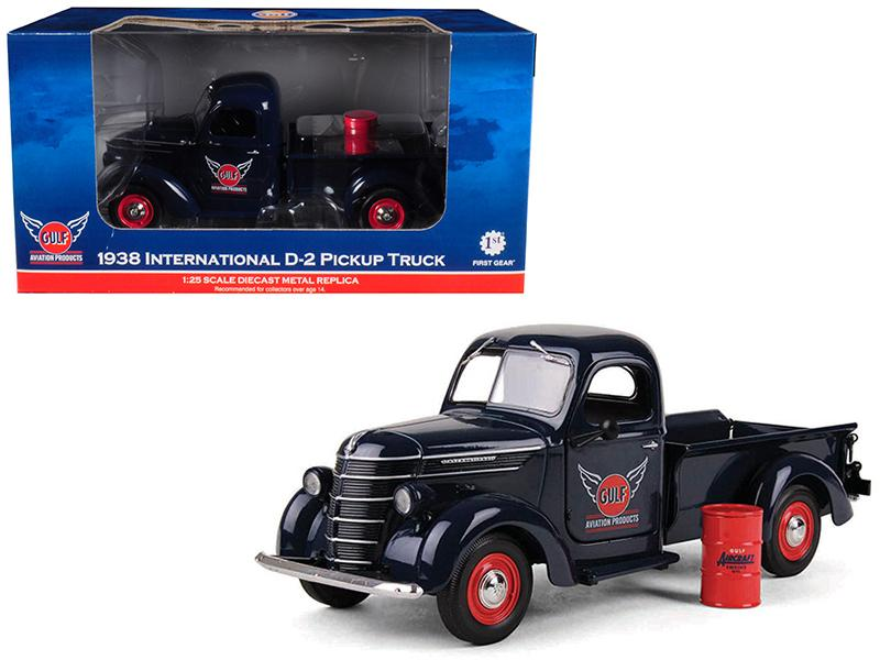 "1938 International D-2 Pickup \GULF"" Aviation Products Truck With Barrel 1/25 Diecast Model by First Gear"""