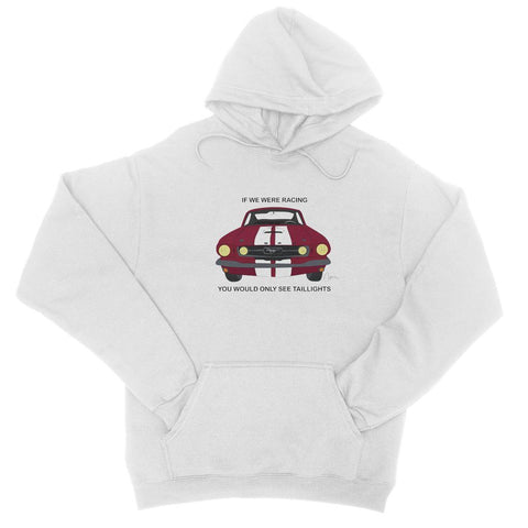Image of '66 Red Mustang Front College Hoodie