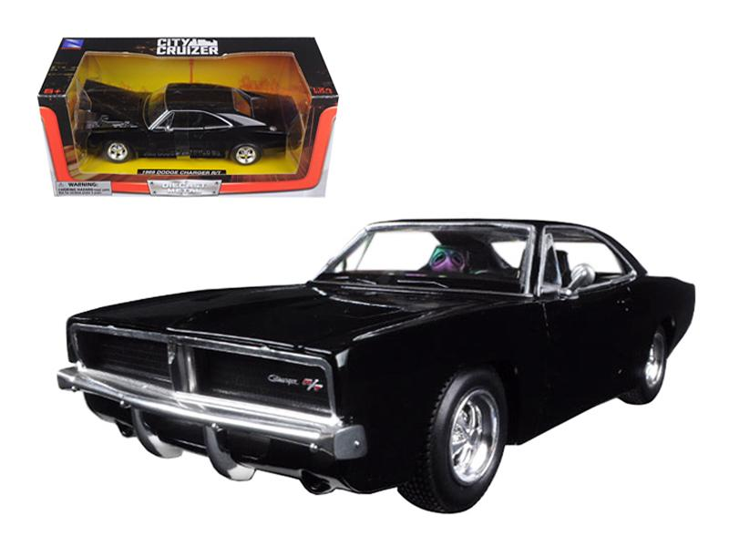 1969 Dodge Charger R/T Black 1/24 Diecast Model Car by New Ray