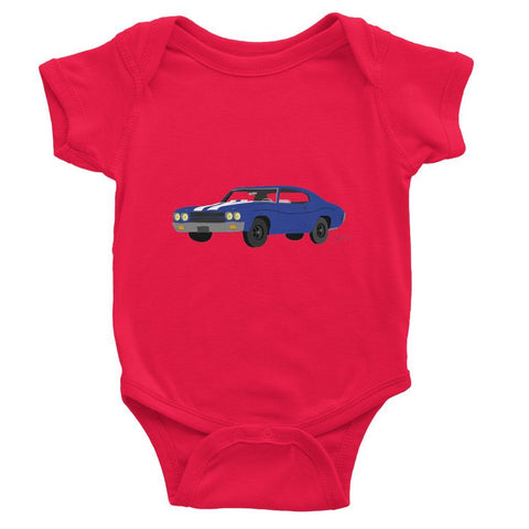 '70 Chevelle Blue No Slogan Baby Bodysuit