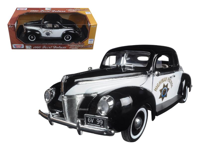"1940 Ford Coupe Deluxe California Highway Patrol CHP \Timeless Classics"" 1/18 Diecast Model Car by Motormax """