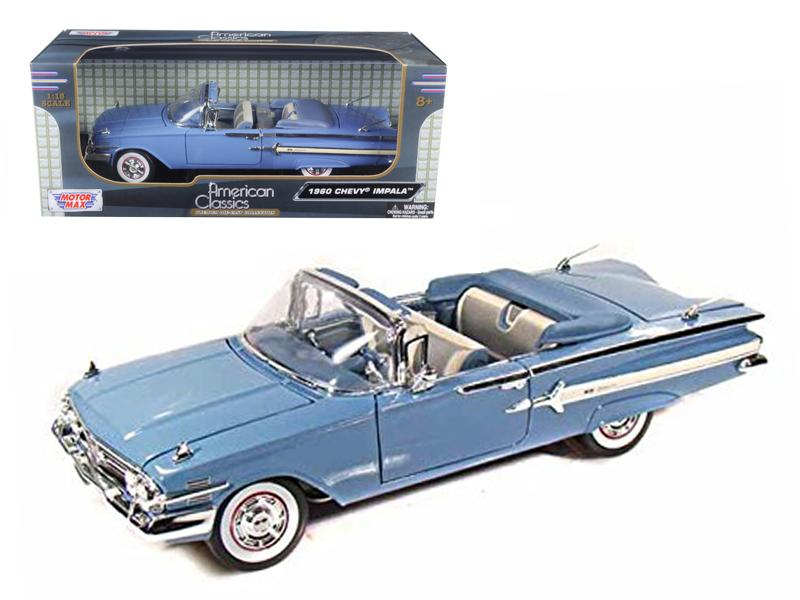 1960 Chevrolet Impala Convertible Blue 1/18 Diecast Car Model by Motormax