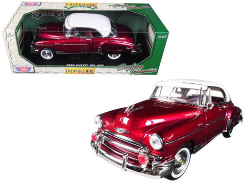1950 Chevrolet Bel Air Burgundy with White Roof 1/18 Diecast Model Car by Motormax