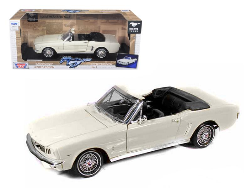 1964 1/2 Ford Mustang Convertible Cream 1/18 Diecast Car Model by Motormax