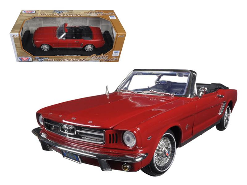 "1964 1/2 Ford Mustang Convertible Red \Timeless Classics"" 1/18 Diecast Model Car by Motormax"""