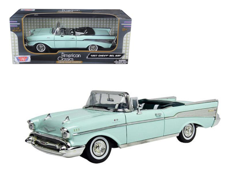 1957 Chevrolet Bel Air Convertible Green 1/18 Diecast Model Car by Motormax