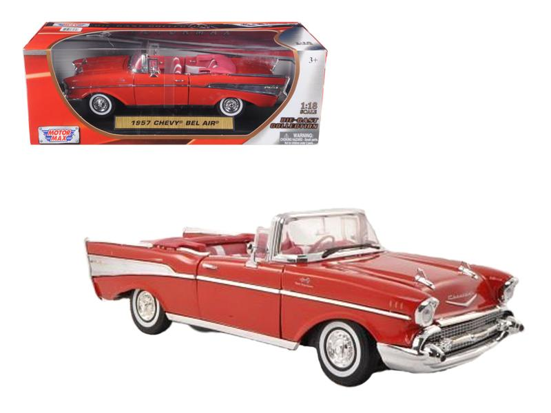 1957 Chevrolet Bel Air Convertible Red 1/18 Diecast Car Model by Motormax