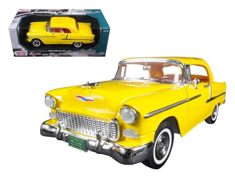 "1955 Chevrolet Bel Air Convertible Soft Top Yellow \Timeless Classics"" 1/18 Diecast Model Car by Motormax"""