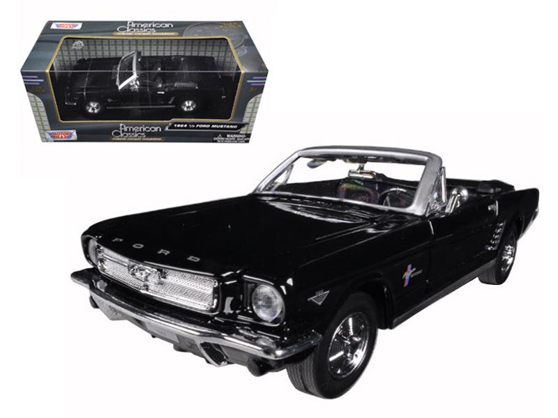 1964 1/2 Ford Mustang Convertible Black 1/24 Diecast Model Car by Motormax