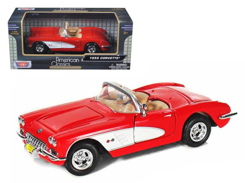 1959 Chevrolet Corvette Red 1/24 Diecast Model Car by Motormax