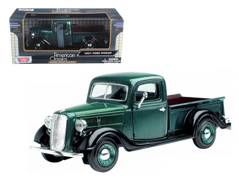 1937 Ford Pickup Truck Green 1/24 Diecast Car Model by Motormax