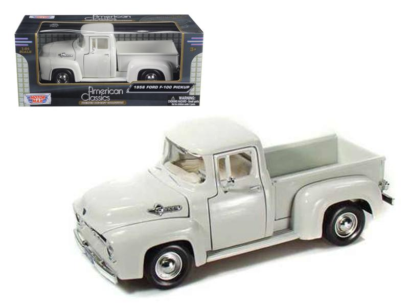 1956 Ford F-100 Pickup White 1/24 Diecast Car Model by Motormax