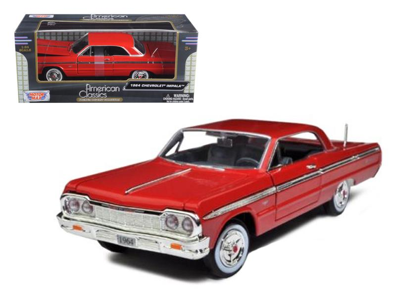1964 Chevrolet Impala Red 1/24 Diecast Model Car by Motormax