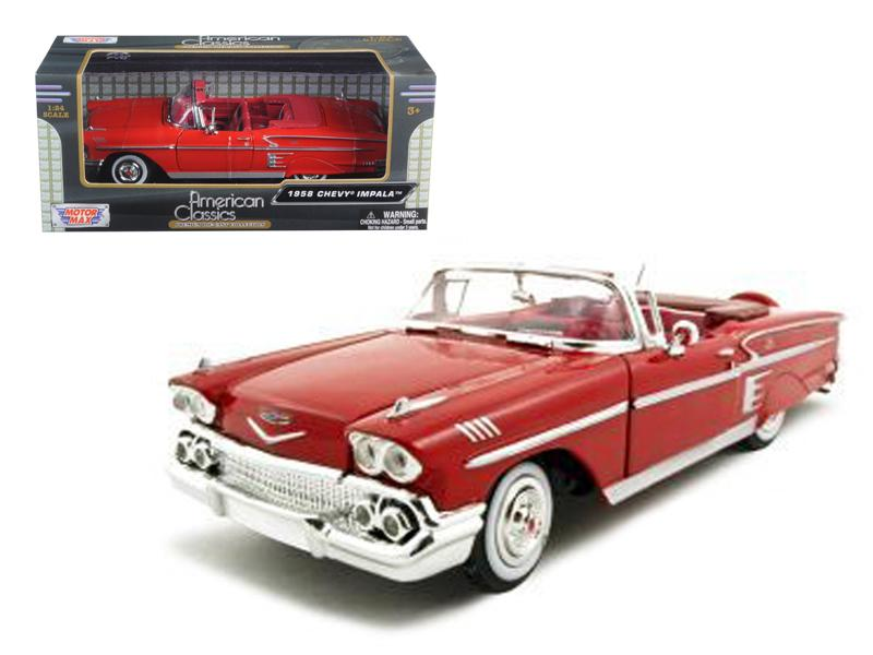 1958 Chevrolet Impala Red 1/24 Diecast Car Model by Motormax