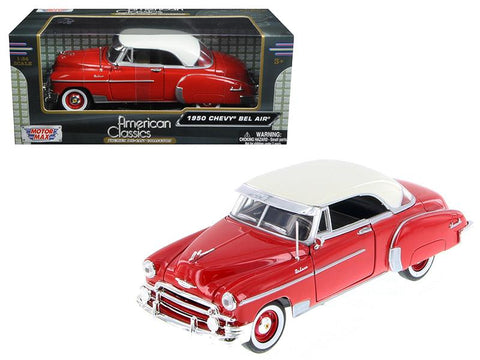 1950 Chevrolet Bel Air Red 1/24 Diecast Car Model by Motormax