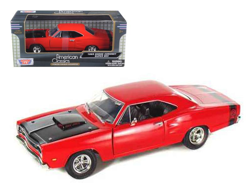 1969 Dodge Coronet Super Bee Red 1/24 Diecast Model Car by Motormax