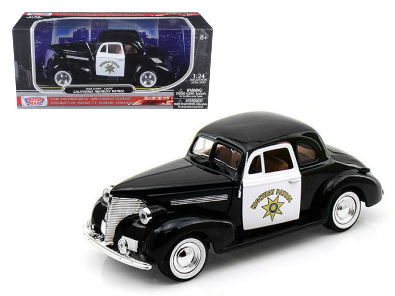 1939 Chevrolet Coupe California Highway Patrol CHP 1/24 Diecast Car Model by Motormax