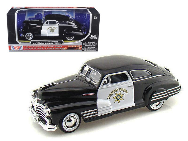 1948 Chevrolet Aerosedan Fleetline Highway Patrol Police 1/24 Diecast Car Model by Motormax