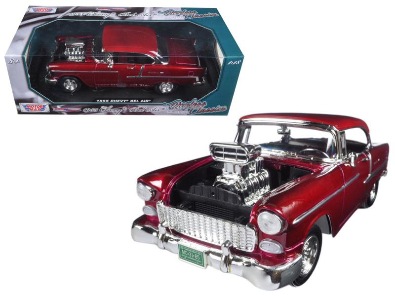 1955 Chevrolet Bel Air Burgundy With Blower Timeless Classics 1/18 Diecast Model Car  by Motormax