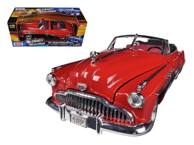 1949 Buick Roadmaster Red/Black Custom 1/18 Diecast Car Model by Motormax