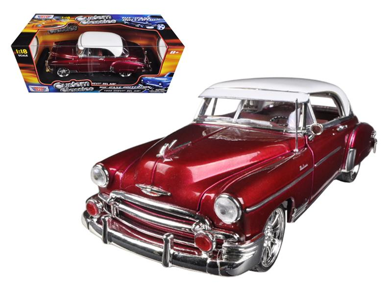 1950 Chevrolet Bel Air Metallic Dark Red Custom 1/18 Diecast Car Model by Motormax