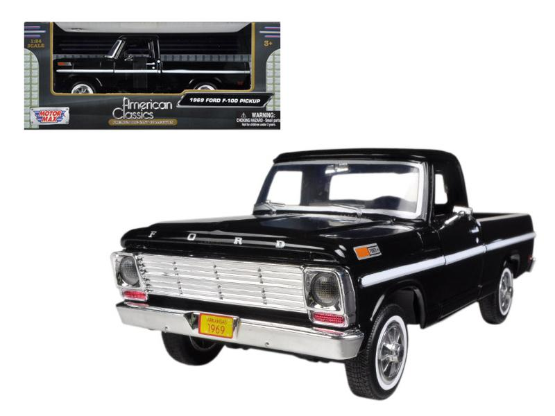 1969 Ford F-100 Pickup Truck Black 1/24 Diecast Model by Motormax