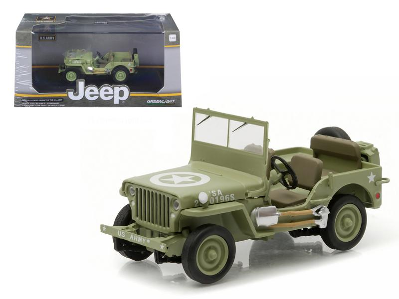 1944 Jeep Willys C7 U.S. Army Green with Star on Hood 1/43 Diecast Model Car by Greenlight